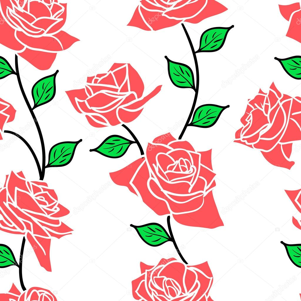 Beautiful  seamless wallpaper with rose flowers, vector illustration — Stock Photo #15432505