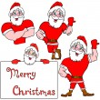 Stock Photo: A set of pictures muscular Santa Claus