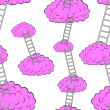 Clouds with stairs, seamless wallpaper - Stock Photo