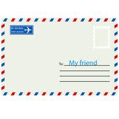 Enveloppe blanche avec timbre. — Photo