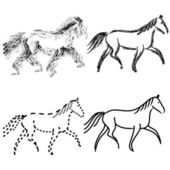 Set horses outlines. vector collection — Stock Photo