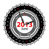 Creative idea of design of a Clock with circular calendar for 20 — Zdjęcie stockowe