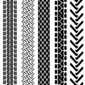 Set of detailed tire prints, vector illustration — Stock Photo