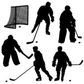 Set of silhouettes of hockey player. — ストック写真