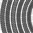 Set of detailed tire prints, vector illustration - Stock Photo