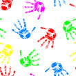 Hand print, seamless wallpaper, vector illustration. — Stock Photo