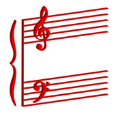 Musical stave on white background — Stock Photo