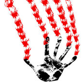 Bloody hand prints, on a white background, vector. — Stock Photo