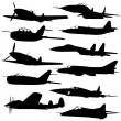 Collection of different combat aircraft silhouettes. — Stock Photo #19366877