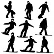 Set snowboarders silhouettes. Vector illustration. — Stock Photo #19366907