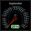 Stock Photo: 2014 year calendar speedometer car in vector. September.