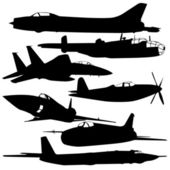 Collection of different combat aircraft silhouettes. — Stock Photo