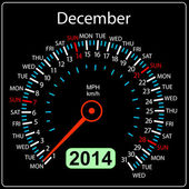 2014 year calendar speedometer car in vector. December. — Stock Photo