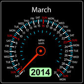 2014 year calendar speedometer car in vector. March. — Stock Photo