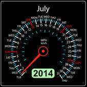 2014 year calendar speedometer car in vector. July. — Stock Photo