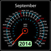 2014 year calendar speedometer car in vector. September. — ストック写真