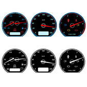 Set of car speedometers for racing design. vector illustration — Stock Photo