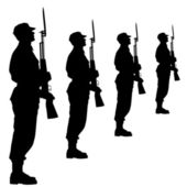 Silhouette soldiers during a military parade. Vector illustratio — Stock Photo