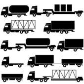 Set of vector icons - transportation symbols. Black on white. — Stock Photo