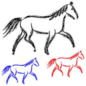 Horses outlines. — Stock Photo