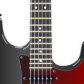 Schwarz e-gitarre auf weißem hintergrund — Stockfoto