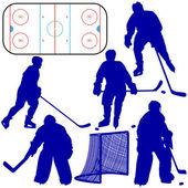 Jeu des silhouettes du joueur de hockey. isolé sur blanc. vector — Photo