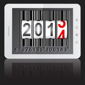 White tablet PC computer with 2014 New Year counter, barcode iso — Stock Photo