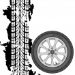 Stock Photo: Abstract background tire prints, vector illustration