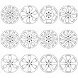 Car alloy wheels, vector illustration — Stock Photo