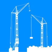 Silhouette of two cranes working on the building. Vector illustr — Photo