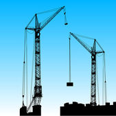 Silhouette of two cranes working on the building. Vector illustr — Stock Photo