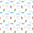 Seamless wallpaper children&#039;s drawings of the sun and clouds - Foto de Stock  
