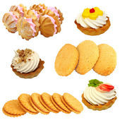 Set of cookies of the various form on a white background — Stock Photo
