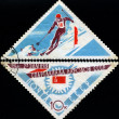 USSR - CIRCA 1966: A post stamp printed in USSR shows slalom, de — Stock Photo