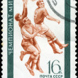 USSR - CIRCA 1970: A stamp printed in the USSR, shows football, - Stock Photo