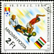 HUNGARY - CIRCA 1982: A stamp printed in Hungary, shows football — Stock Photo