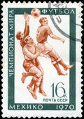 USSR - CIRCA 1970: A stamp printed in the USSR, shows football, — 图库照片