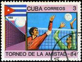 CUBA - CIRCA 1984: A stamp printed in CUBA shows volleyball, ser — Stock fotografie
