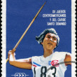 CUBA-CIRCA 1974 : A post stamp printed in Cuba shows Javelin, se — Zdjęcie stockowe