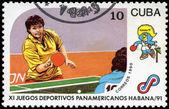 CUBA - CIRCA 1990: A post stamp printed CUBA, 1991 Pan American — Photo