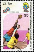 CUBA - CIRCA 1990: A post stamp printed CUBA, 1991 Pan American — Stok fotoğraf
