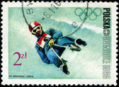 POLAND - CIRCA 1968: Winter Olympics 1968. Descent to sledge, ci — Stock Photo
