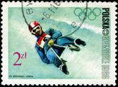 POLAND - CIRCA 1968: Winter Olympics 1968. Descent to sledge, ci — Stock Photo