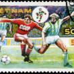 VIETNAM - CIRCA 1990: a stamp printed by Vietnam shows football — Stock Photo #22662049