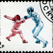Royalty-Free Stock Photo: USSR - CIRCA 1992: A stamp printed in the USSR showing fencers,
