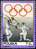 POLAND - CIRCA 1969: stamp printed by Poland, shows fencing, cir — ストック写真