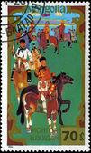 MONGOLIA - CIRCA 1988: stamp printed by Mongolia, shows horseman — Stock Photo