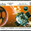 Stock Photo: CUBA - CIRCA 1984: stamp printed by Cuba, shows Cosmonautics Day
