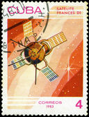 CUBA - CIRCA 1983: A stamp printed in Cuba, shows French space s — Stock fotografie