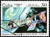 CUBA CIRCA 1984: stamp printed by CUBA, shows Cosmonautics Day - — Stockfoto